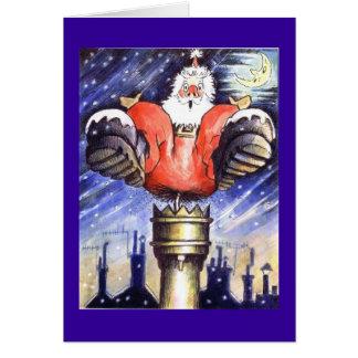 Choc de cheminée de Père Noël Carte De Vœux