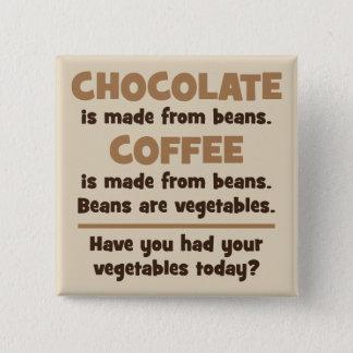 Chocolat, café, haricots, légumes - nouveauté badges