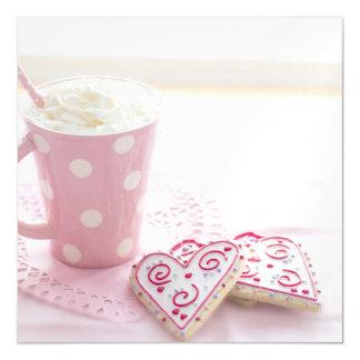 Chocolat chaud de biscuits d'amour du coeur de carte magnétique