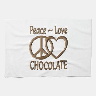 Chocolat d'amour de paix linges de cuisine