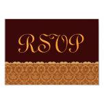 Chocolat et or mariage damassé vintage RSVP Carton D'invitation 8,89 Cm X 12,70 Cm