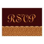 Chocolat et or mariage damassé vintage RSVP Invitation Personnalisable