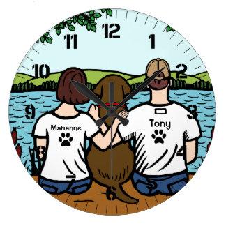 Chocolat Labrador et maman et papa Grande Horloge Ronde
