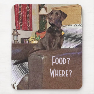 Chocolat labrador retriever sur la chaise tapis de souris