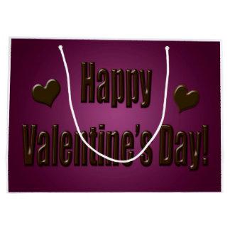 Chocolat pourpre Valentine heureux Grand Sac Cadeau