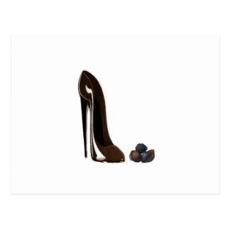 Chocolats et chaussure stylet cartes postales