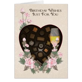 Chocolats vin et carte de voeux d'anniversaire de