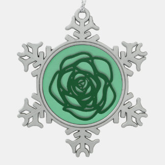 Choisissez le rose de couleur sur le vert ornement flocon de neige pewter