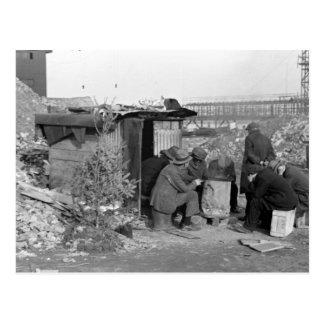 Chômeurs et sans-abri 1938 carte postale