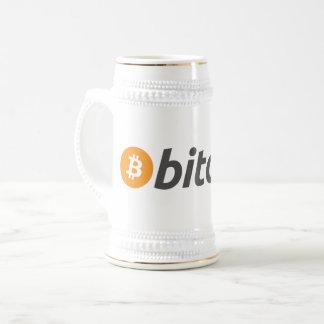 Chope À Bière Bitcoin orange et blanc avec le texte