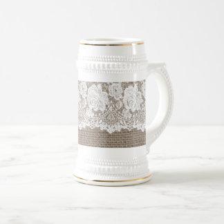 Chope À Bière Blanc rose 2 de Stein de bière de dames de