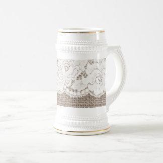 Chope À Bière Blanc rose de Stein de bière de dames de dentelle