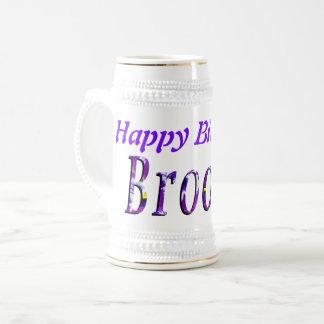 Chope À Bière Brooke, logo de joyeux anniversaire, bière Stein
