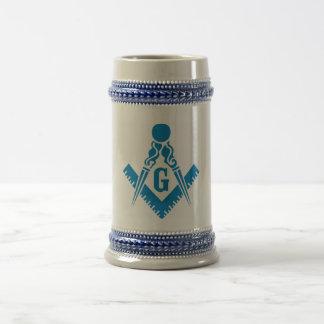 Chope À Bière Carré et boussole Stein de bleu