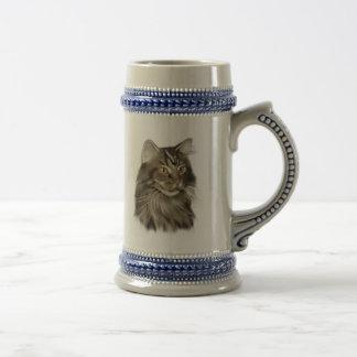 Chope À Bière Chat de ragondin tigré noir du Maine