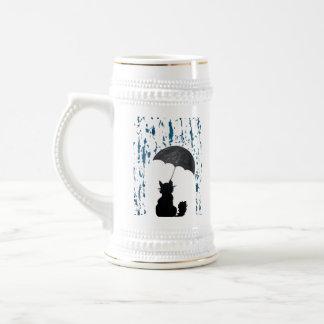 Chope À Bière Chat sous le parapluie