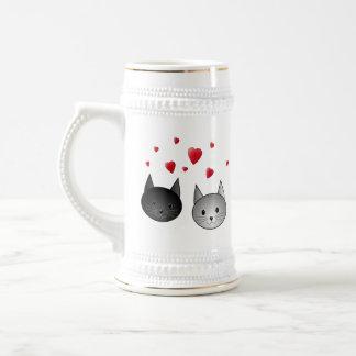 Chope À Bière Chats noirs et gris mignons, avec des coeurs