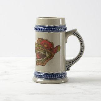 Chope À Bière Chien de dragon (rouge vert et or)