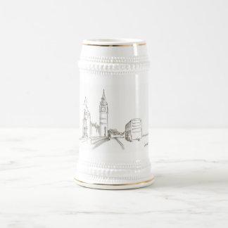 Chope À Bière Croquis élégant chic blanc d'or de Londres Big Ben