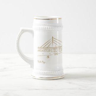 Chope À Bière Croquis élégant d'or de ville de pont de liberté