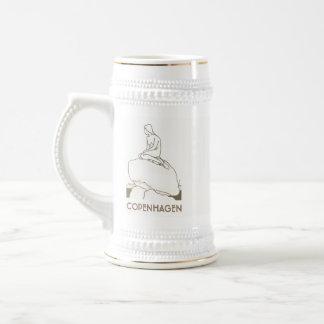Chope À Bière Élégant blanc d'or de sirène de Copenhague