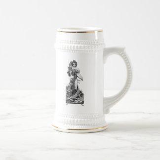 Chope À Bière Fleurs cassées par Mucha d'Alphonse
