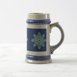 Chope À Bière Flocon de neige floral Stein de glace bleue