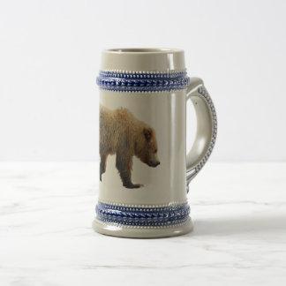 Chope À Bière Gris/bleu 22 once Stein avec l'petit animal d'ours