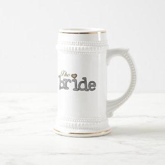 Chope À Bière Jeune mariée d'argent et d'or