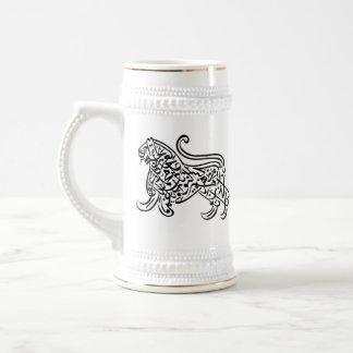 Chope À Bière Lion de calligraphie (noir)
