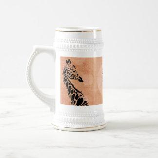 Chope À Bière L'orange entoure le ~ Stein de girafe