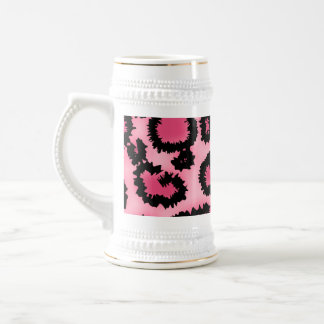 Chope À Bière Modèle rose et noir d'empreinte de léopard