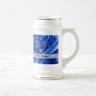 Chope À Bière Motif numérique bleu de flocon de neige