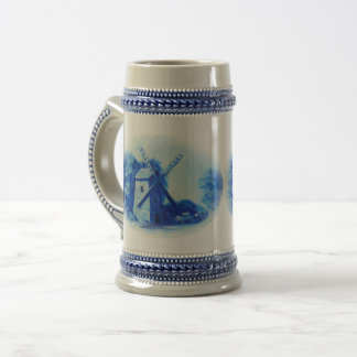 Chope À Bière Moulin à vent bleu de Delft, cheval bleu de Delft