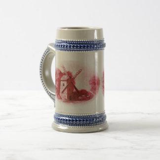 Chope À Bière Moulin à vent rouge de Delft, cheval rouge de