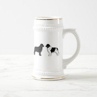 Chope À Bière Noir et chiens de Landseer Terre-Neuve