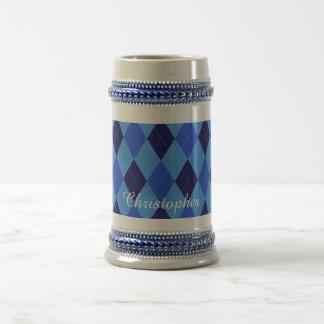 Chope À Bière Nom personnalisé par coutume bleue à motifs de