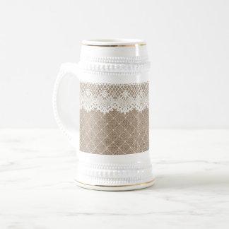 Chope À Bière Or blanc de Stein de toile de jute de dentelle de
