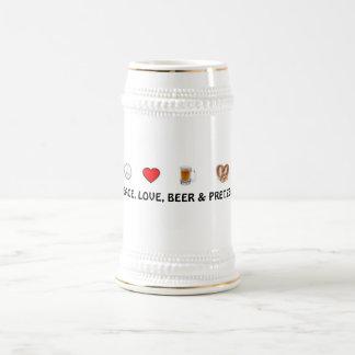 Chope À Bière Paix, amour, bière et bretzels Stein