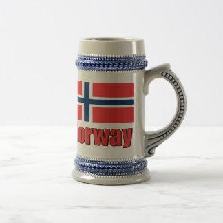 Chope À Bière Stein bleu/gris de 22oz Norvège \ drapeau