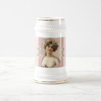 Chope À Bière Victorien féminin vintage de monogramme de Nouveau