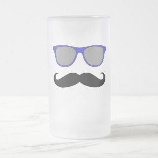Chope Givrée Moustache et humeur bleue de lunettes de soleil
