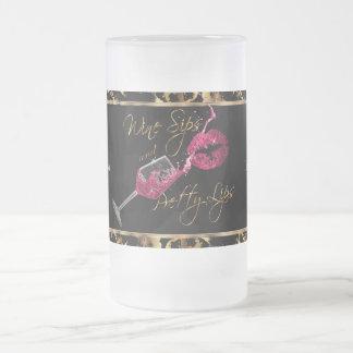 Chope Givrée Sips de vin et lèvres assez roses - marbre