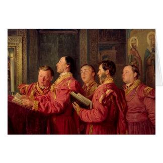 Choristes dans l'église, 1870 carte de vœux