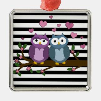 Chouettes épervières de Valentines Ornement Carré Argenté