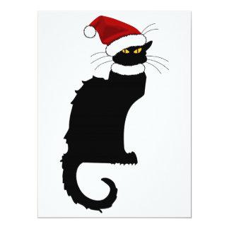 Christmas Le Chat Noir avec le chapeau de Père Carton D'invitation 16,51 Cm X 22,22 Cm