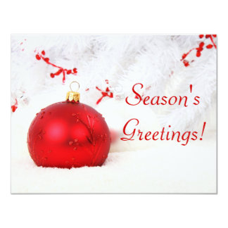 Christmas Red And White Season's Greetings Personalized Announcement