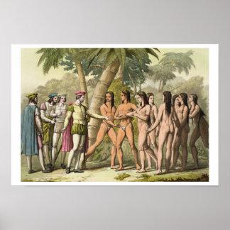 Christophe Colomb (1451-1506) avec le cor de Herna Posters