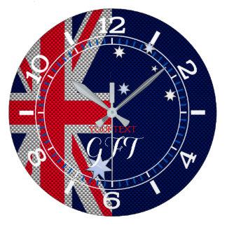 Chrome australien personnalisé de carbone de grande horloge ronde