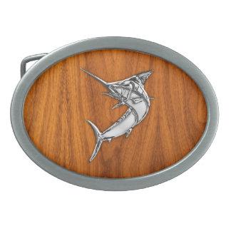 Chrome Marlin sur le bois de teck Boucles De Ceinture Ovales